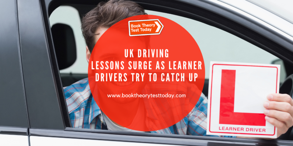 Male learner driver taking UK driving lessons.