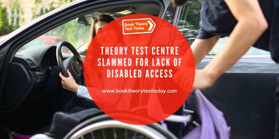 Disabled driver on way to a theory test centre.