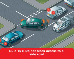 Do not block access to a side road