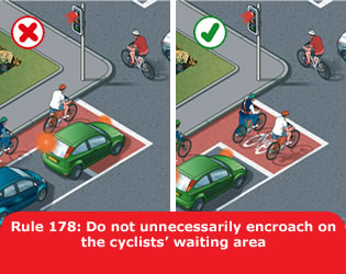 Do not unnecessarily encroach on the cyclists' waiting area