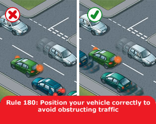 Position your vehicle correctly to avoid obstructing traffic