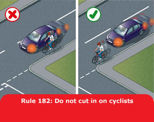 Do not cut in on cyclists