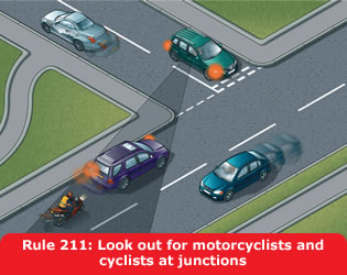 Look out for motorcyclists and cyclists at junctions