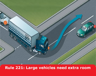 Large vehicles need extra room