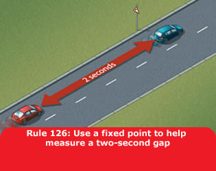Use a fixed point to help measure a two-second gap